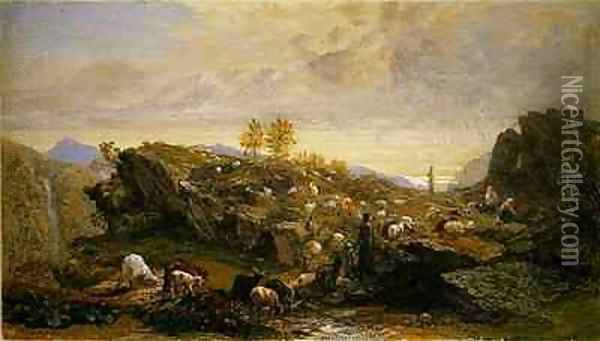 Rustics with Sheep and Goats in a Rocky Landscape Oil Painting - Samuel Palmer