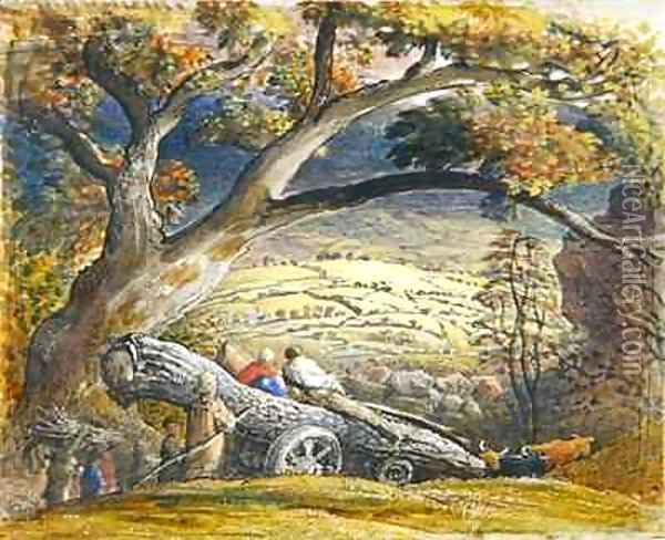 The Timber Wain, c.1833-34 Oil Painting - Samuel Palmer