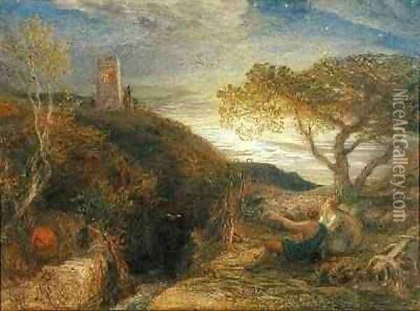 The Lonely Tower, 1868 Oil Painting - Samuel Palmer