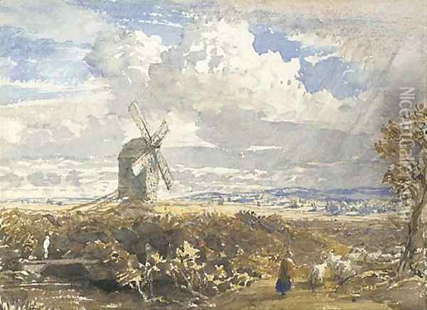 A windmill near Pulborough, West Sussex Oil Painting - Samuel Palmer