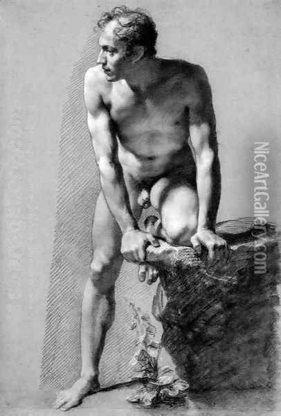 Male Nude Leaning on a Rock Oil Painting - Pierre-Paul Prud'hon
