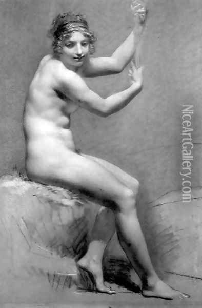 Female Nude Holding On To A Staff Oil Painting - Pierre-Paul Prud'hon