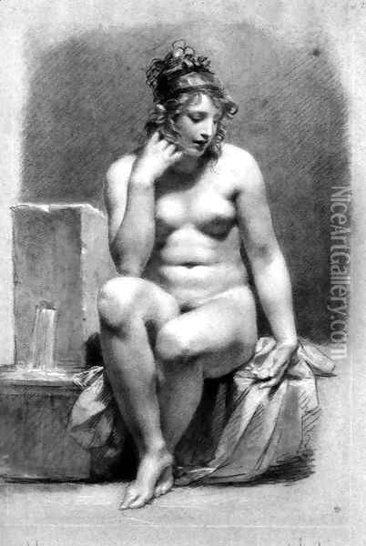 Seated Female Nude by a Fountain Oil Painting - Pierre-Paul Prud'hon