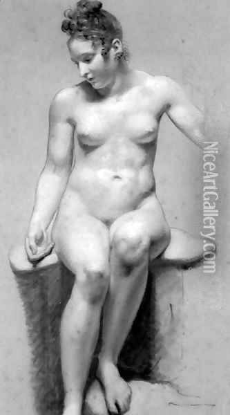 Seated Female Nude Oil Painting - Pierre-Paul Prud'hon