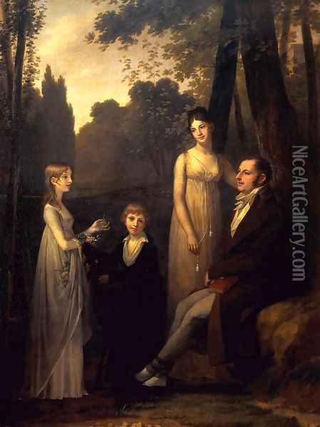 Rutger Jan Schimmelpenninck with his Wife and Children 1801-02 Oil Painting - Pierre-Paul Prud'hon