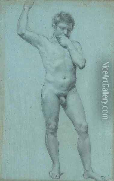A male nude, his right hand raised Oil Painting - Pierre-Paul Prud'hon