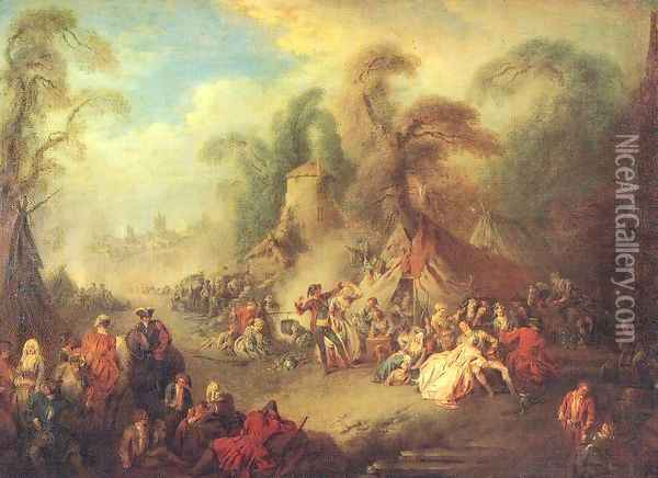 A Country Festival with Soldiers Rejoicing 1728 Oil Painting - Jean-Baptiste Joseph Pater