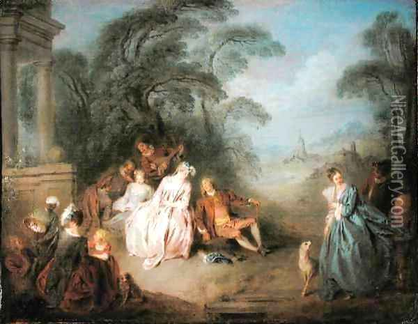 A Gathering in a Park Oil Painting - Jean-Baptiste Joseph Pater