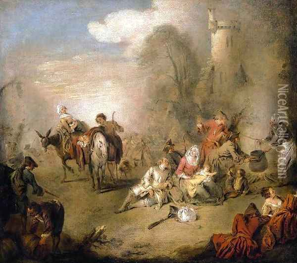 Soldiers and Camp Followers Resting from a March c. 1730 Oil Painting - Jean-Baptiste Joseph Pater