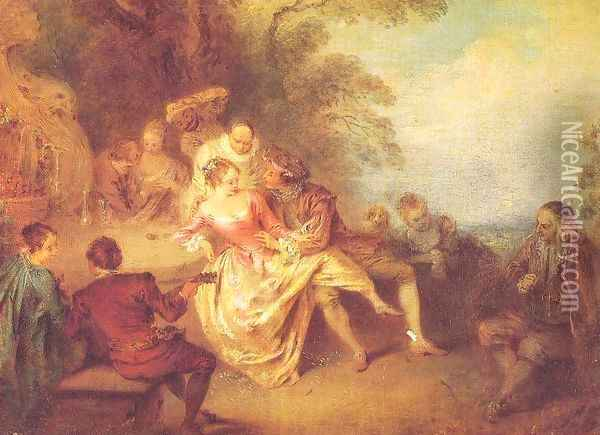 Gathering of Actors from the Italian Comedy Oil Painting - Jean-Baptiste Joseph Pater