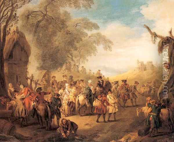 Stopping at an Inn 1728 Oil Painting - Jean-Baptiste Joseph Pater