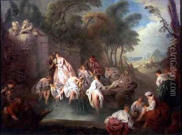 Bathing Party in a Park, 1730s Oil Painting - Jean-Baptiste Joseph Pater