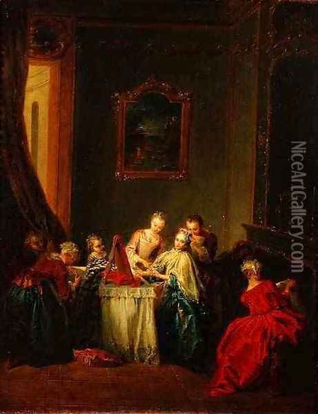 The Toilet Young woman at her Dressing Table Oil Painting - Jean-Baptiste Joseph Pater