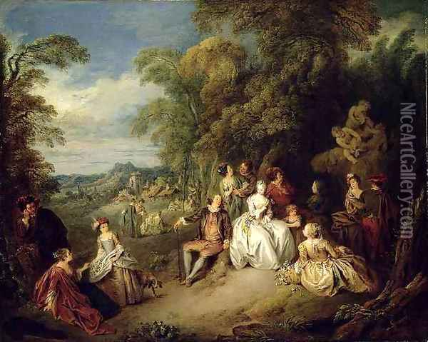 Elegant company in a park Oil Painting - Jean-Baptiste Joseph Pater