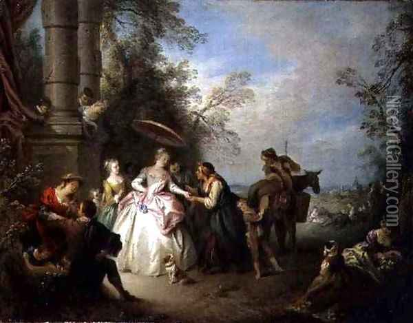 The Fortune Teller Oil Painting - Jean-Baptiste Joseph Pater