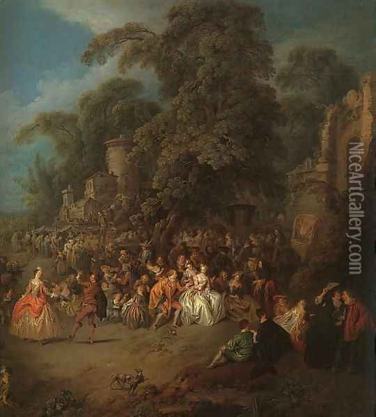 The Fair at Bezons Oil Painting - Jean-Baptiste Joseph Pater