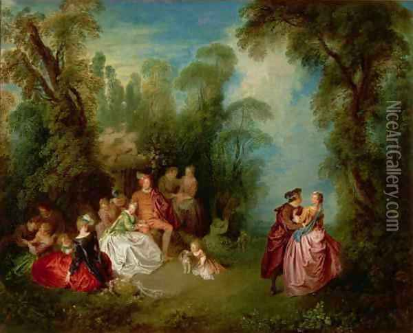 Conversation Galante by a Fountain, 1720s Oil Painting - Jean-Baptiste Joseph Pater