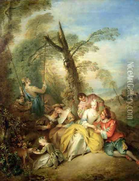 The Swing, 1730s Oil Painting - Jean-Baptiste Joseph Pater