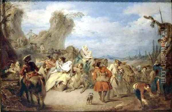 The March of the Troops Oil Painting - Jean-Baptiste Joseph Pater