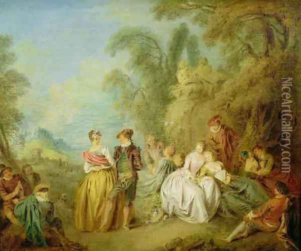 Watching the Dance, 1720s Oil Painting - Jean-Baptiste Joseph Pater
