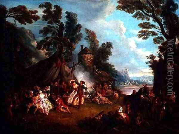 The Party in the Army Camp Oil Painting - Jean-Baptiste Joseph Pater