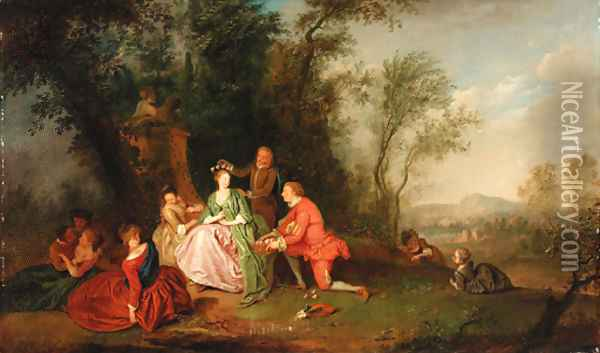 The crowning of a shepherdess Oil Painting - Jean-Baptiste Joseph Pater