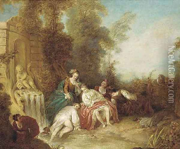 Ladies bathing at a fountain with onlookers by a fence Oil Painting - Jean-Baptiste Joseph Pater