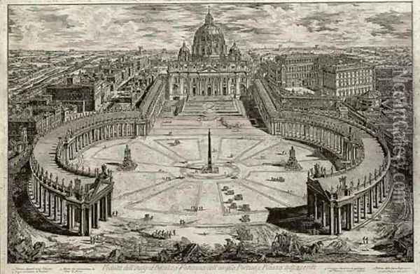 Saint Peter's with Forecourt and Colonnades A Bird's-eye View Oil Painting - Giovanni Battista Piranesi