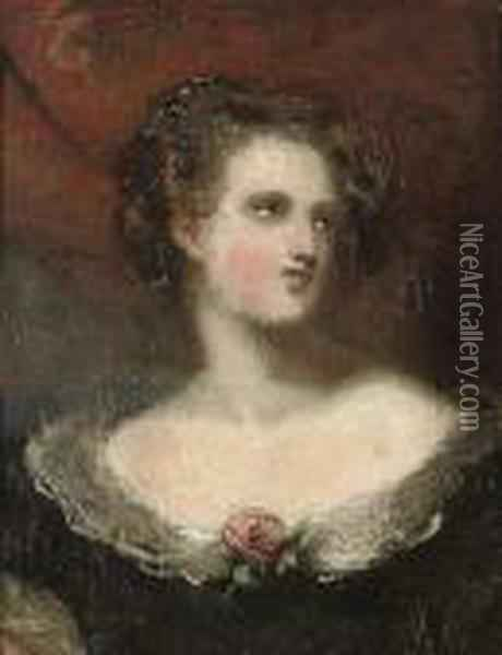 Portrait Of A Lady, Half-length, Wearing A Black Dress With Lace Trim Oil Painting - Sir Thomas Lawrence