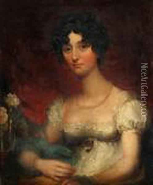 Portrait Of A Young Lady, Bust Length, Wearing White Dress And Pearl Beads Oil Painting - Sir Thomas Lawrence