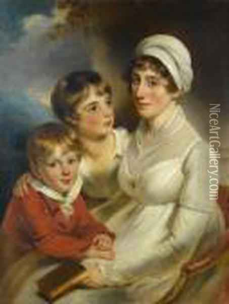 Portrait Of Mrs Sarah Vaughan And Her Children Oil Painting - Sir Thomas Lawrence