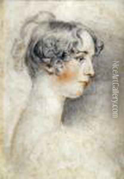 Portrait Of A Young Girl, Head And Shoulders Oil Painting - Sir Thomas Lawrence