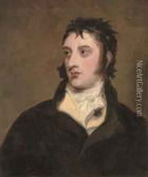 Portrait Of A Gentleman  Traditionally Identified As William Lamb, 2nd Viscount Melbourne  (1779-1848), Half-length, In A Black Coat Oil Painting - Sir Thomas Lawrence