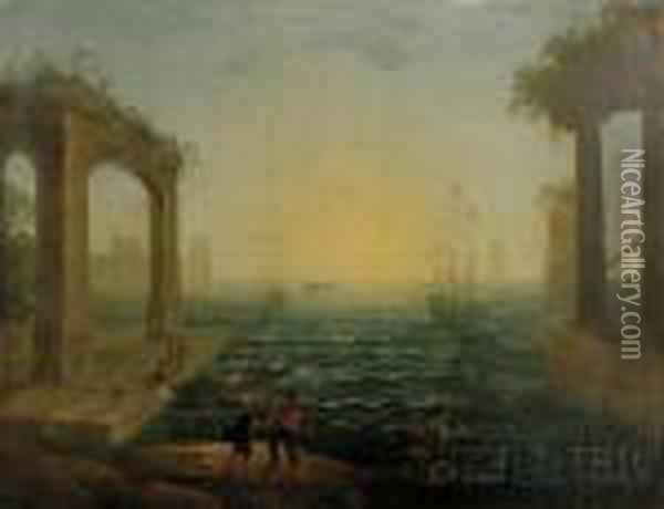 Harbor Scene With Figures And Classical Ruins Oil Painting - Claude Lorrain (Gellee)