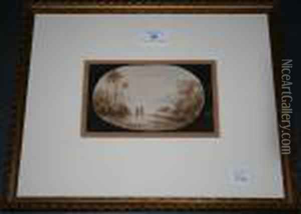 Coastal View With Twofigures Looking Out To A Hazy Sea Within A Feigned Oval Oil Painting - Claude Lorrain (Gellee)