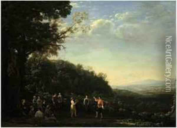 An Extensive Landscape With Shepherds And Shepherdessesdancing Oil Painting - Claude Lorrain (Gellee)
