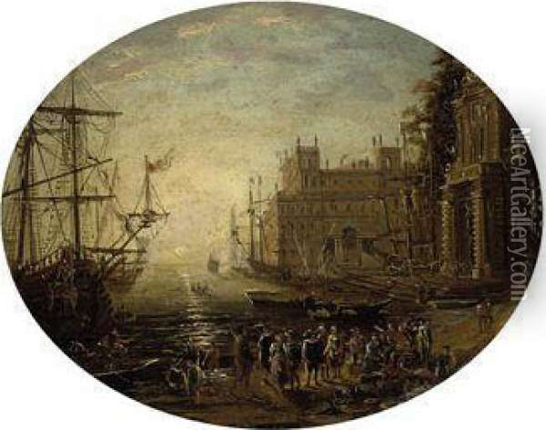 An Architectural Capriccio With Figures Conversing At Sunset Oil Painting - Claude Lorrain (Gellee)