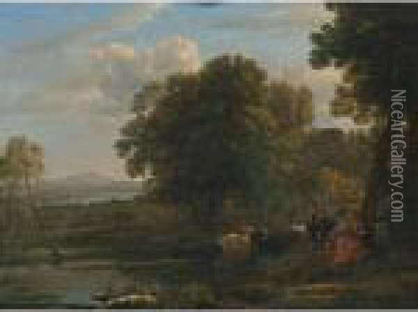 Evening Landscape With Mercury And Battus Oil Painting - Claude Lorrain (Gellee)
