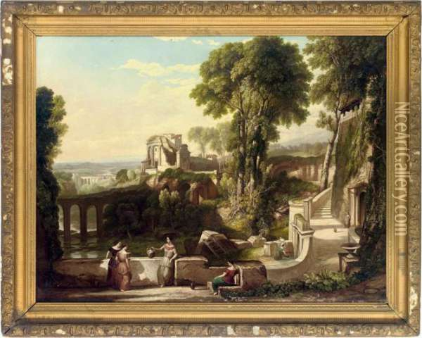 Figures In An Italian Capriccio Oil Painting - Claude Lorrain (Gellee)