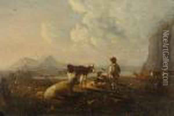 Cattle Watering At A Ford With Figures In An Extensive Landscape Oil Painting - Claude Lorrain (Gellee)