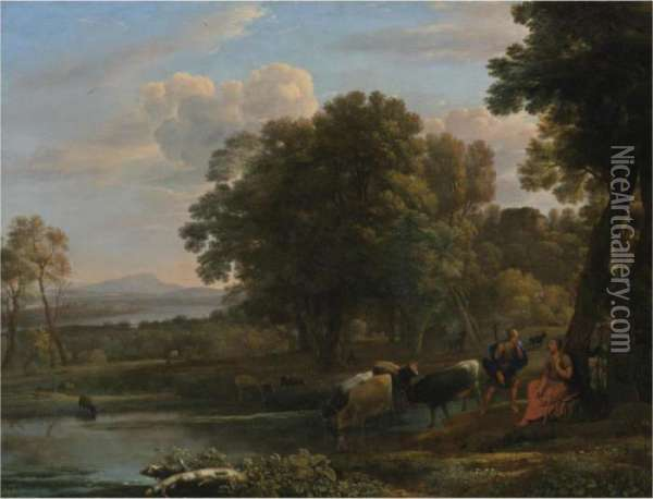 An Evening Landscape With Mercury And Battus Oil Painting - Claude Lorrain (Gellee)