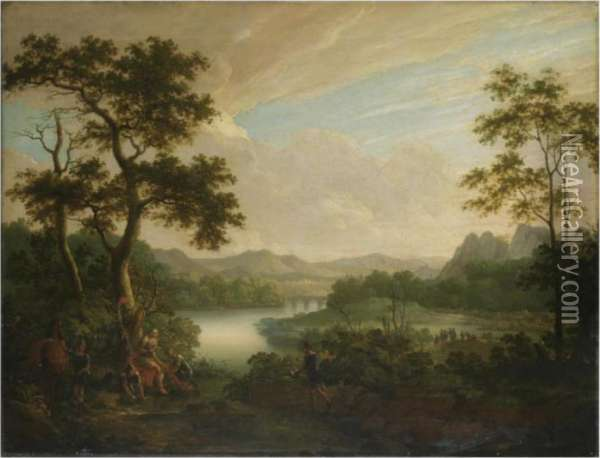 A Classical Landscape With A General Being Tended By Soldiers Oil Painting - Claude Lorrain (Gellee)