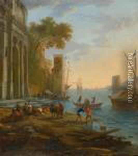 Mediterranean Harbour Landscape With Architectural Motif Andfishermen At The Shore. Oil Painting - Claude Lorrain (Gellee)