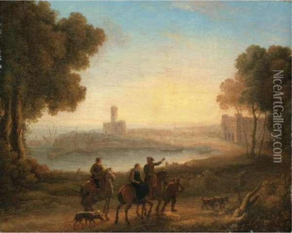 A Classical Landscape With Figures In The Foreground Oil Painting - Claude Lorrain (Gellee)
