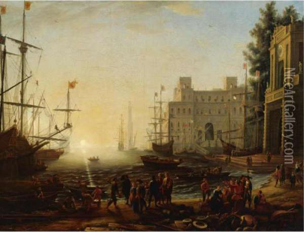 Bustling Port With The Villa Medici Oil Painting - Claude Lorrain (Gellee)