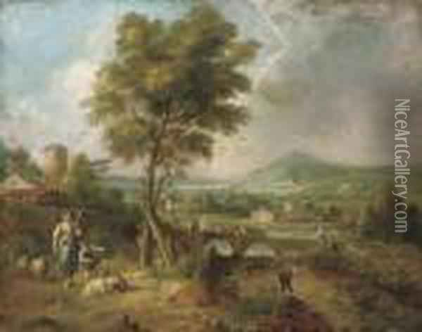Figures In An Italianate Landscape Oil Painting - Claude Lorrain (Gellee)
