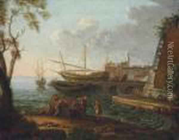 A Coastal Landscape With Fishing Boats Moored, A Town Beyond Oil Painting - Claude Lorrain (Gellee)
