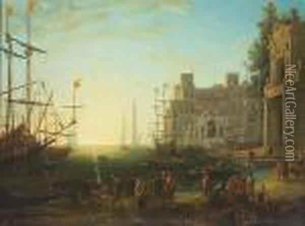 A Harbor Scene With The Villa Medici Oil Painting - Claude Lorrain (Gellee)