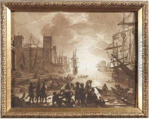 8 Bll. Aquatint, Probably By Richard Earlom After Claude Lorrain. Cut At The Edges Oil Painting - Claude Lorrain (Gellee)