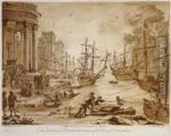 Harbour Scene Oil Painting - Claude Lorrain (Gellee)